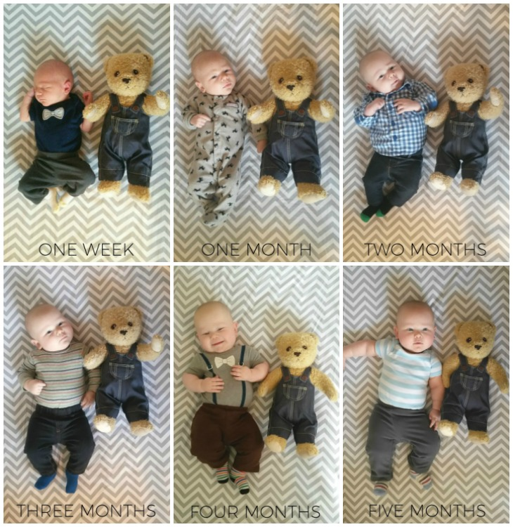 I love how the teddy shrinks while the baby gets bigger!