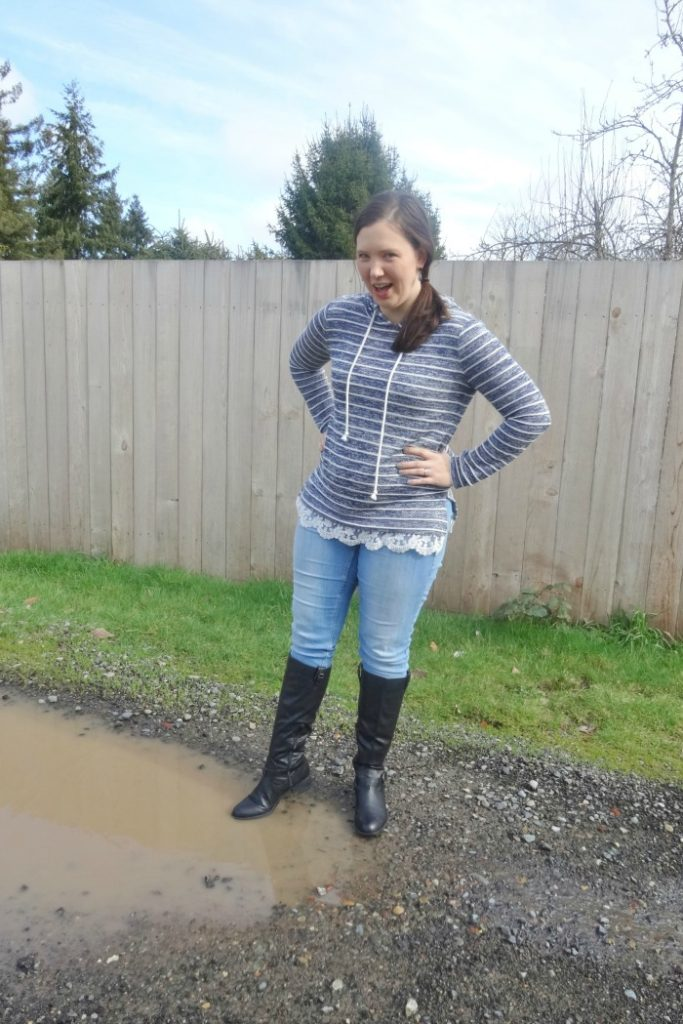 This is an adorable outfit for early spring!