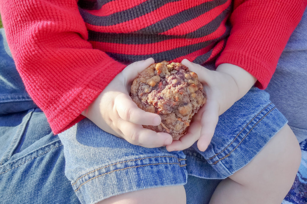 Toddler hands holding a muffin