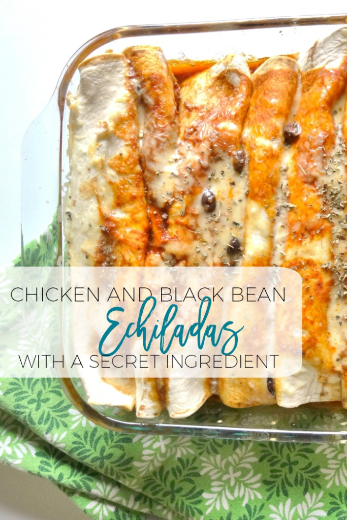 This is an amazing enchilada recipe full of black beans, chicken, and... a secret ingredient!  You'll never guess what it is...