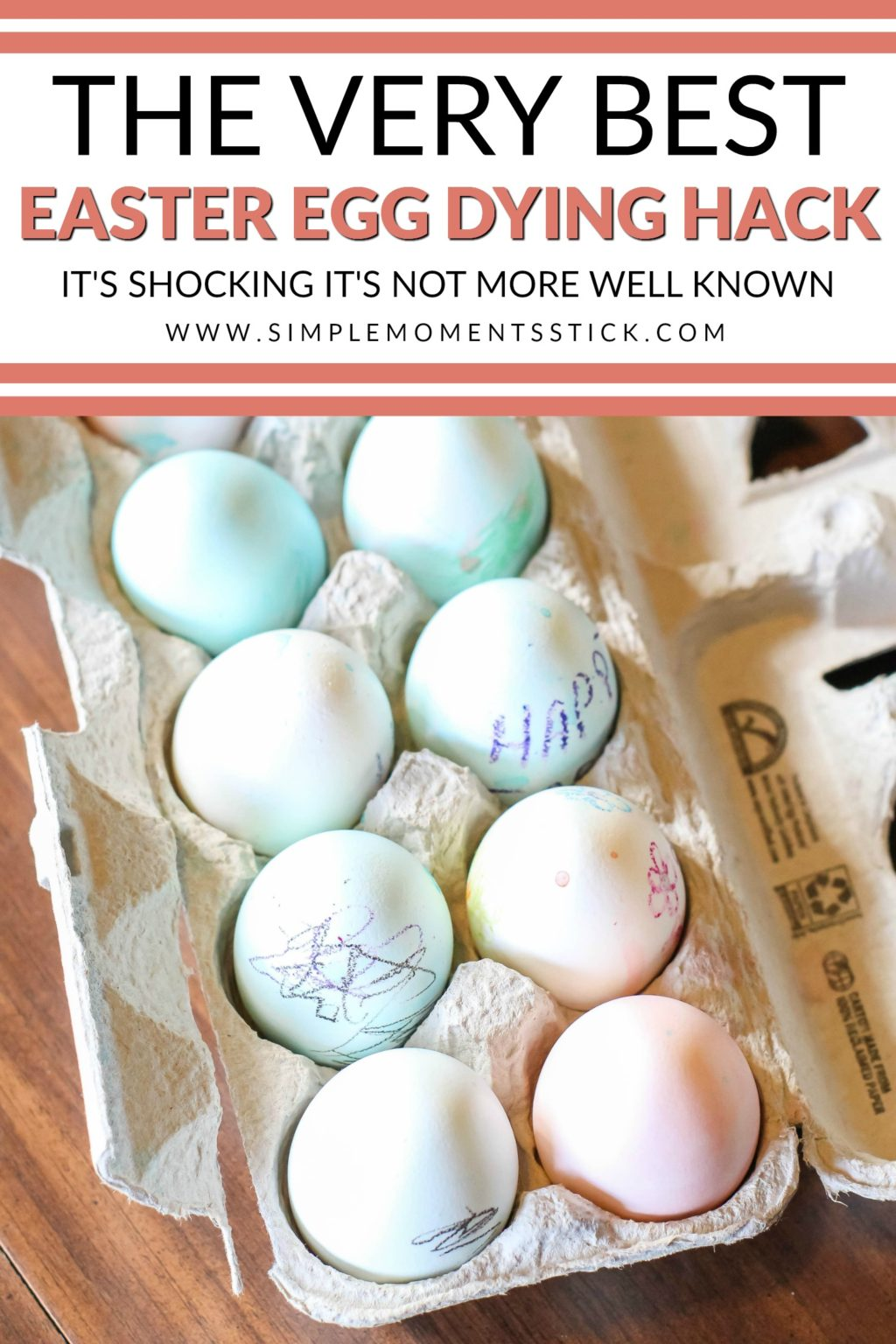 Sometimes Easter egg dying is too messy! Check out this Easter egg dying hack and find out how to dye Easter eggs without the mess!