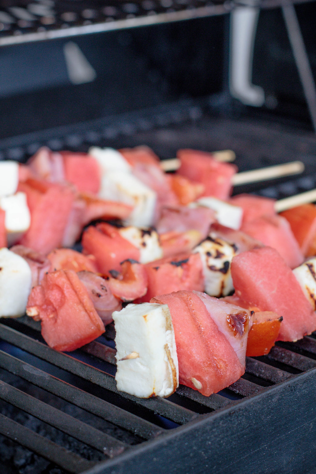 I'm always looking for summer grilling ideas that are out of the box. These watermelon, ham, and cheese kabobs fit the bill completely!