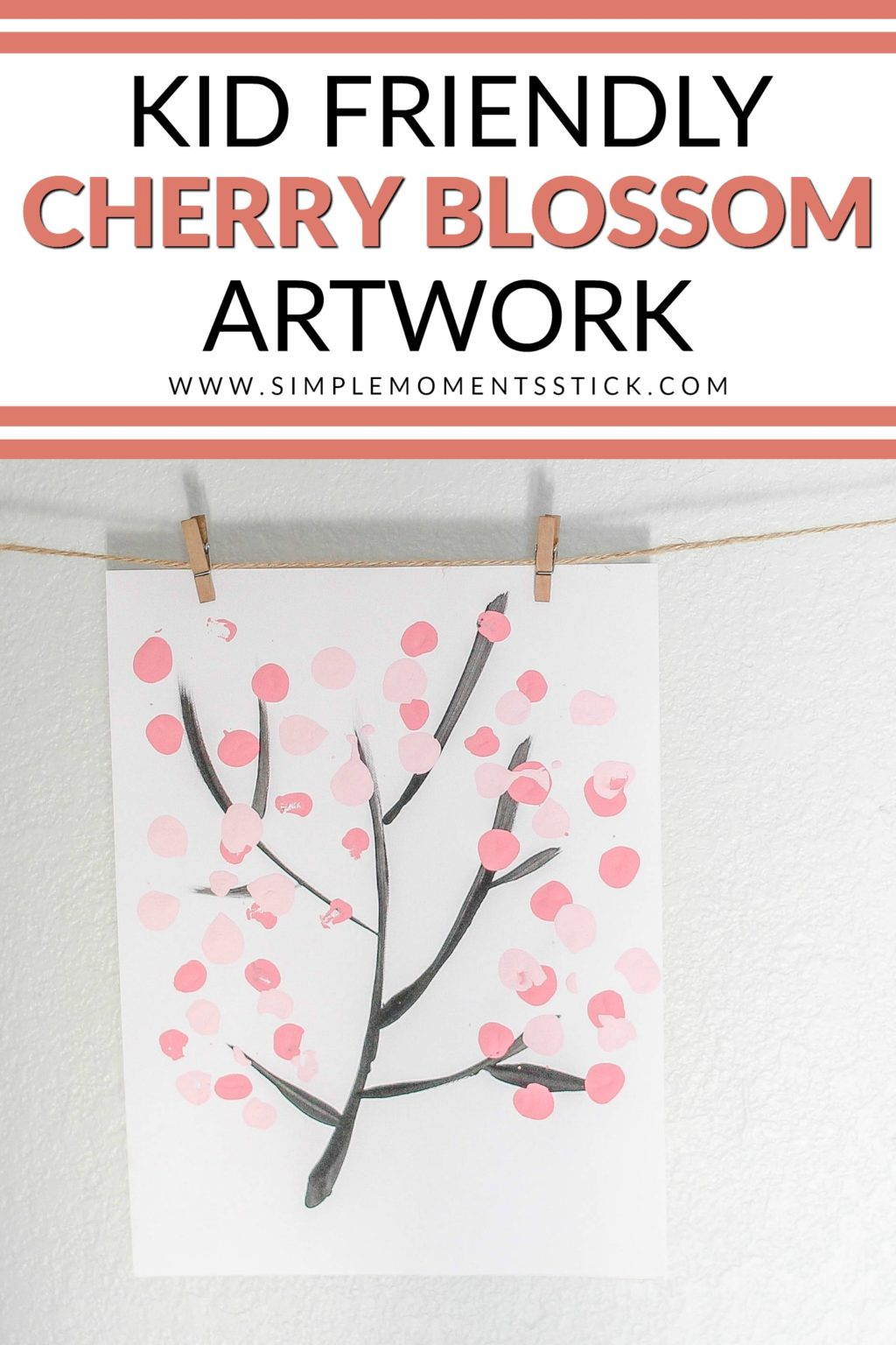 Time for a cherry blossom art lesson! As the cherry blossom trees begin to bloom, it's fun to recreate them on paper. This cherry blossom artwork is so easy to do, you'll want to get your kids involved!