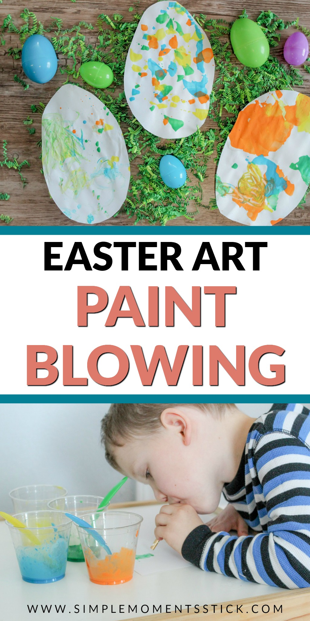 Blowing paint with straws. Easter craft idea. Painted Easter Eggs