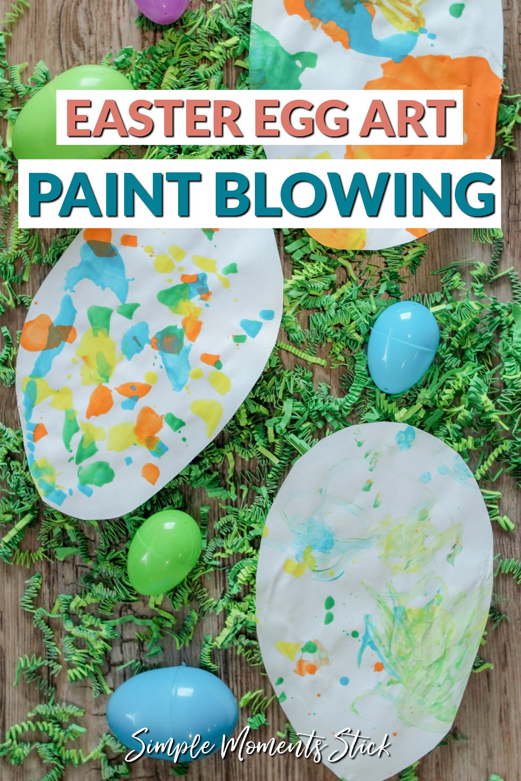 Tips for blowing paint with straws. Easter egg craft idea.